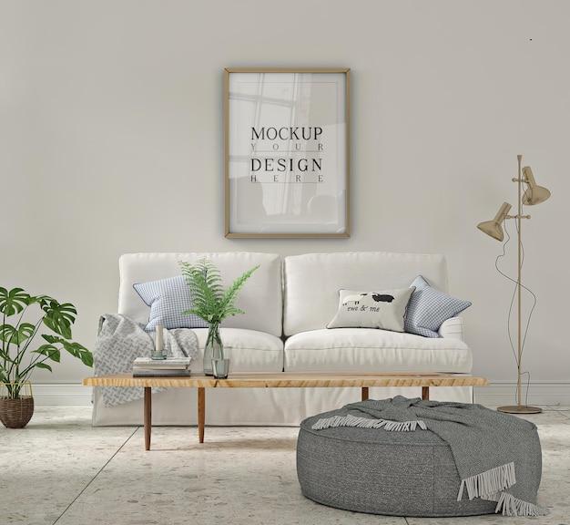 Mockup di cornice per poster all'interno bianco del soggiorno