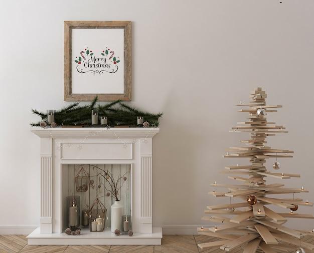 Mockup di cornice per poster con albero di natale in legno, decorazioni e regali