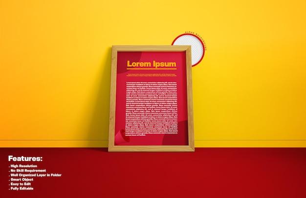 Cornice del poster sul rendering del design del mockup della parete