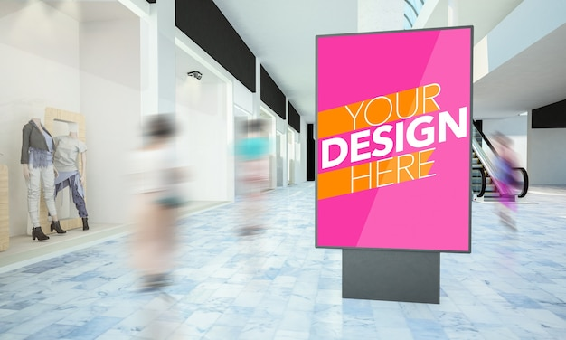 Mockup di poster lightbox in un viale del centro commerciale