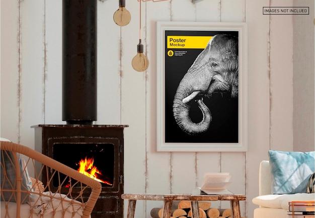 Poster in soggiorno mockup design