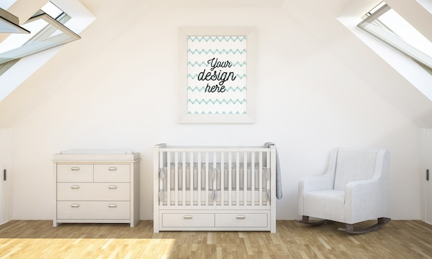 Mockup di poster nella stanza del bambino in rendering 3d