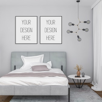 Mockup di poster, camera da letto con cornici verticali