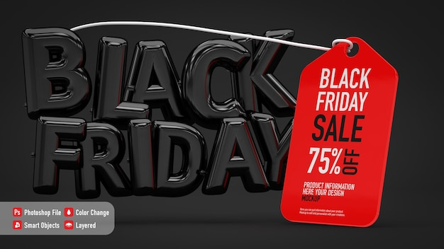 Mockup di poster per il black friday con lettere a palloncino ed etichetta