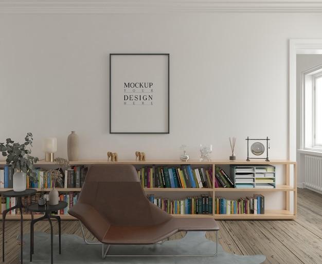 Mockup di poster in soggiorno moderno classico