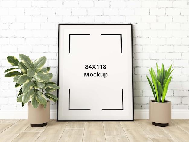Poster mockup sul pavimento tra le piante