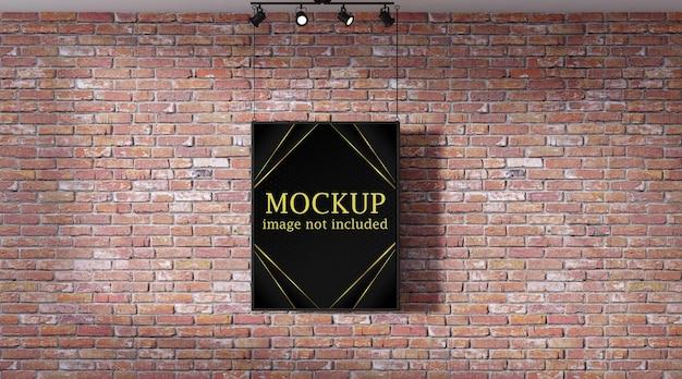 Mockup di poster davanti al muro di mattoni