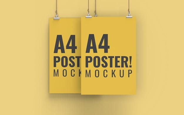 Poster mockup vista frontale formato a4