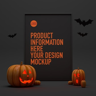 Mockup di poster per halloween accanto ad alcune zucche e pipistrelli