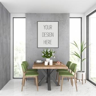 Mockup di poster, cucina con cornice verticale nera