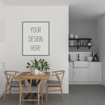 Modello di poster, cucina con cornice verticale, interni scandinavi