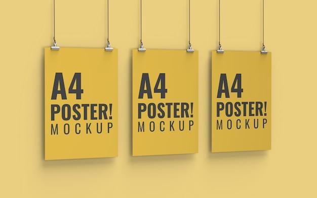 Mockup di poster vista sinistra formato a4