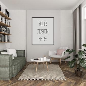 Mockup di poster, soggiorno con cornice verticale nera, interni scandinavi