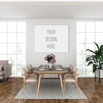 Mockup di poster, soggiorno con cornice orizzontale