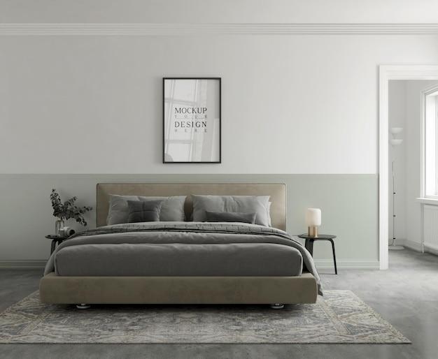Mockup di poster nella moderna camera da letto 3d rendering