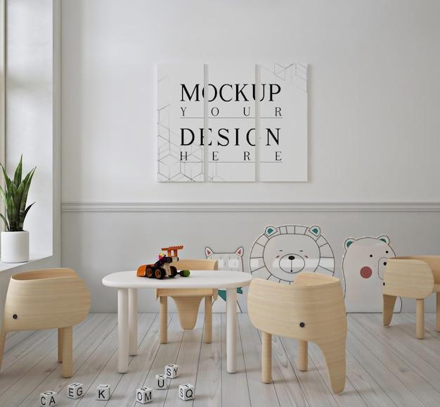 Mockup di poster nella moderna scuola materna carina