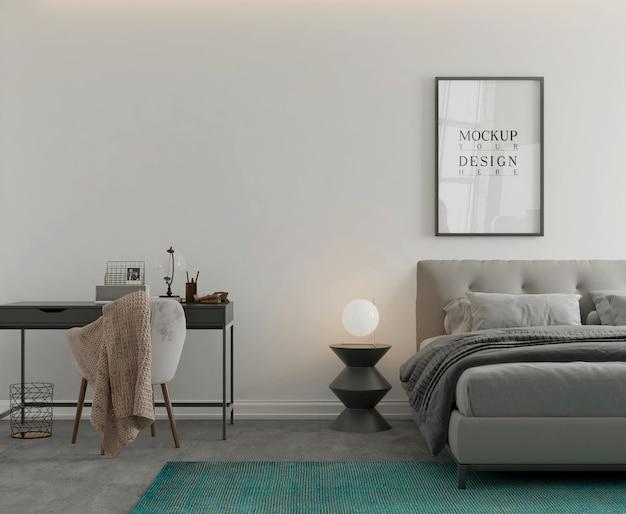 Mockup di poster nella moderna camera da letto monocromatica 3d rendering