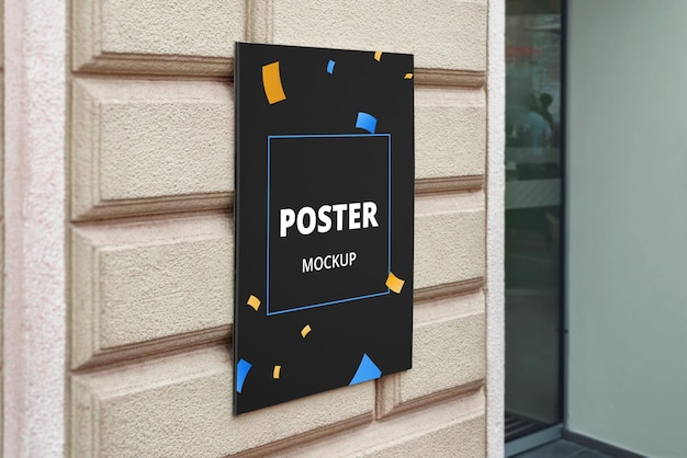 Mockup di poster all'ingresso dell'ufficio