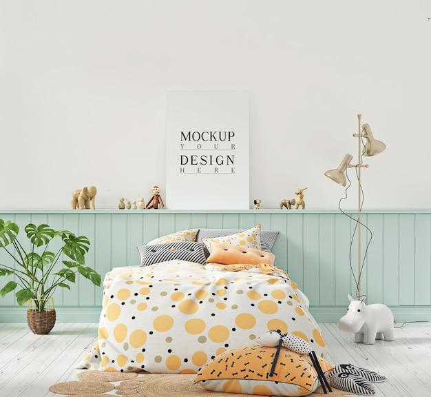 Poster mockup in cameretta per bambini color pastello