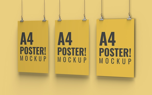 Poster mockup vista destra formato a4