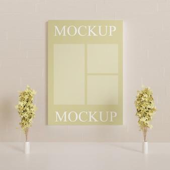 Mockup di poster sul muro con piante decorative coppia