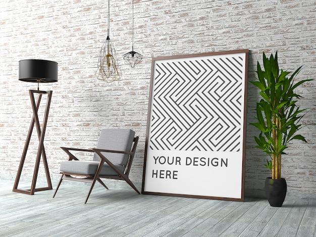 Poster mockup con interni contemporanei Psd Premium