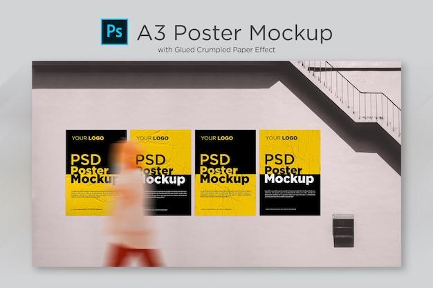 Poster mockup con effetto carta incollata e sgualcita