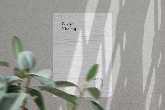 Mockup di poster con sovrapposizione di ombre e pianta