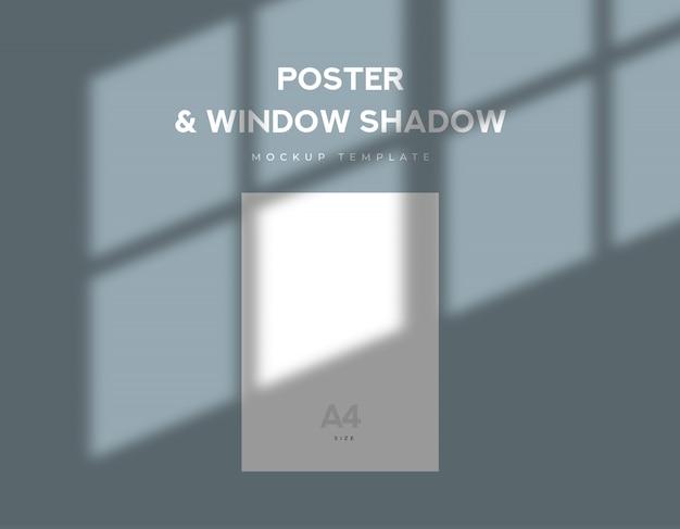 Foglio bianco formato poster con ombra sera finestra