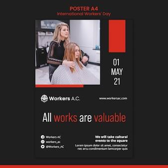 Modello di poster per la celebrazione del giorno dei lavoratori internazionali