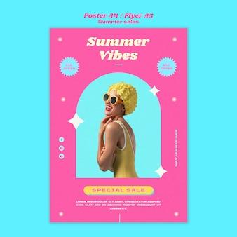 Modello di poster per i saldi estivi