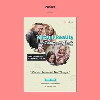 Modello di poster per viaggio di vacanza in realtà virtuale
