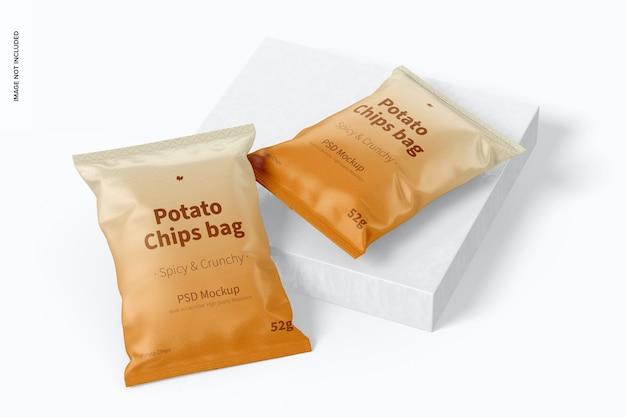 Mockup di sacchetti di patatine fritte