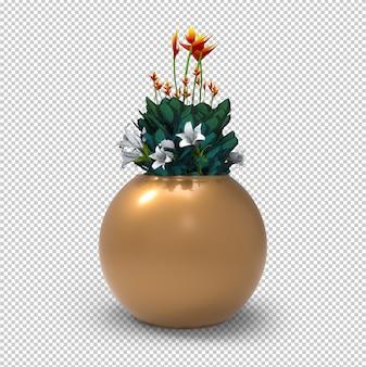 Fiori in vaso isolati. vaso da fiori dorato moderno. parete trasparente. vista frontale.