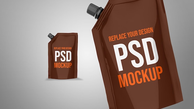 Pouch 3d rendering mockup design Psd Premium