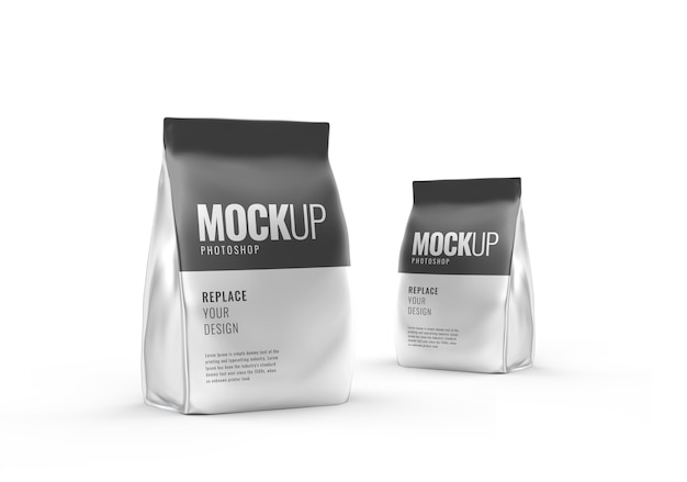 Pouch mockup 3d rendering realistico