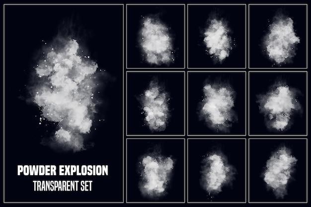 Collezione trasparente di fumo di esplosione di polvere