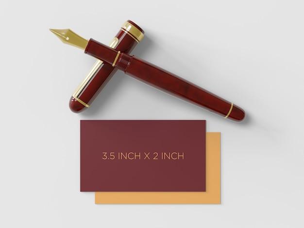 Biglietto da visita premium con una penna stilografica