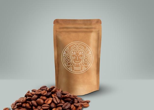 Mockup di carta da imballaggio di marca di caffè premium