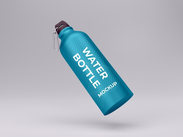 Vista isolata di design mockup di bottiglia d'acqua in metallo di alta qualità