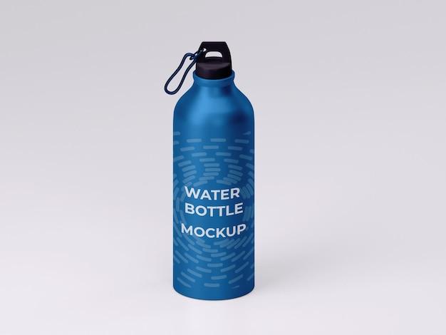 Vista dall'alto di design mockup di bottiglia d'acqua in metallo di alta qualità