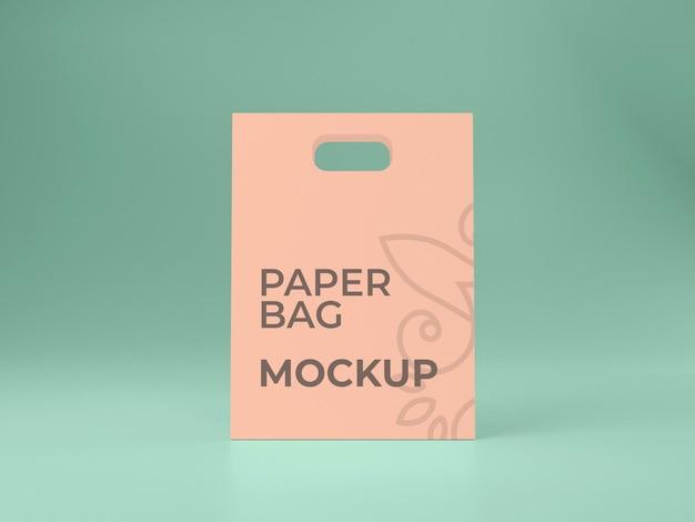 Vista frontale del design del modello di shopping bag in carta di alta qualità