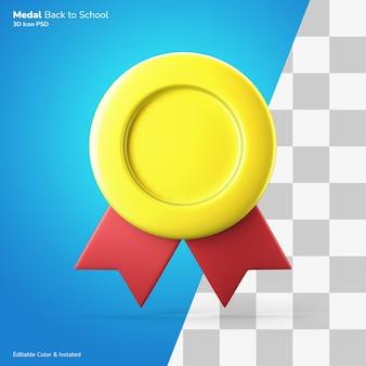 Simbolo di qualità premium medaglia d'oro icona 3d rendering colore modificabile isolato