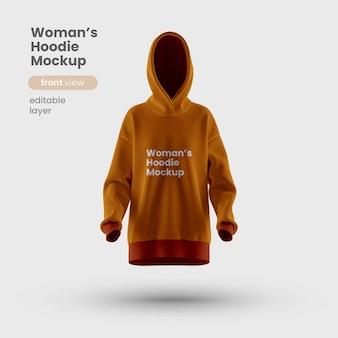 Vista frontale del modello di felpa con cappuccio da donna premium