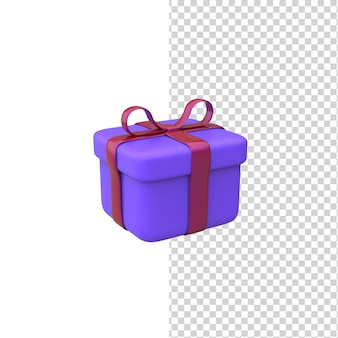 Modello di rendering 3d della scatola regalo regalo viola con sfondo bianco isolato fiocco rosso
