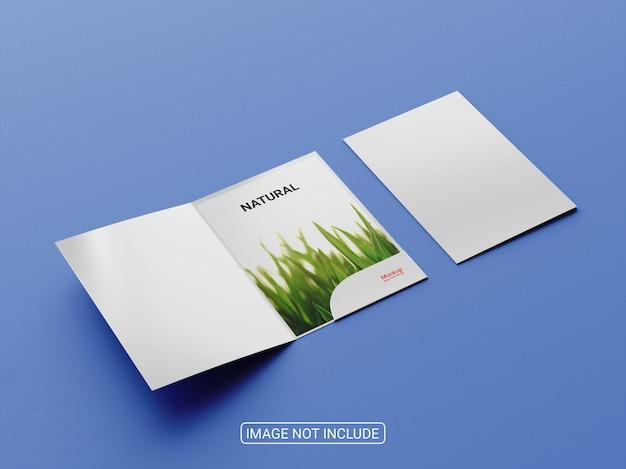 Cartella di presentazione o design mockup di brochure bi-fold
