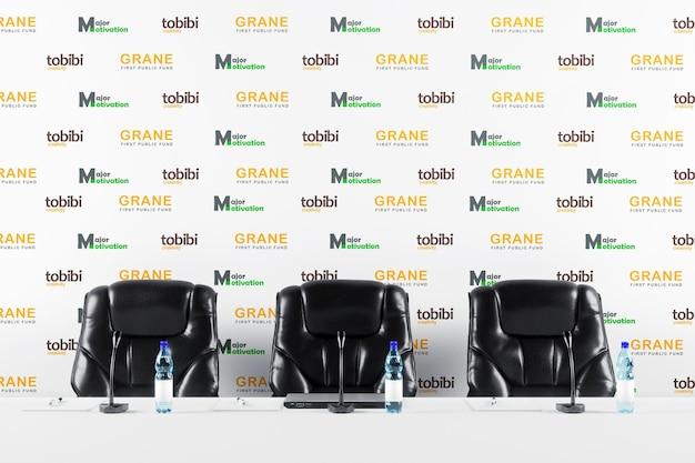 Modello di banner sullo sfondo della conferenza stampa