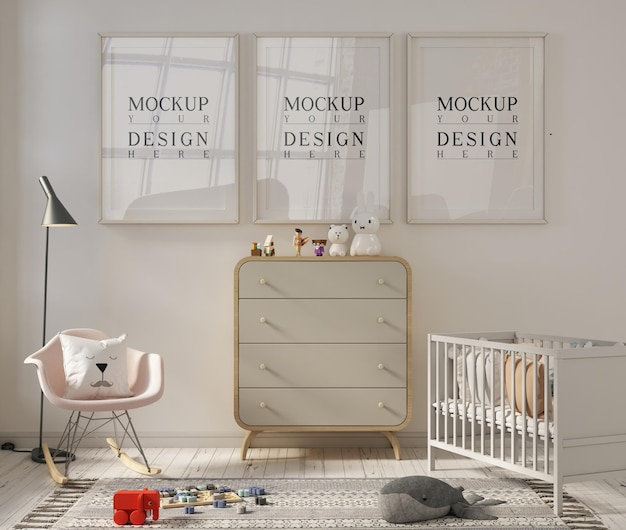 Bella stanza della scuola materna con cornice per poster mockup