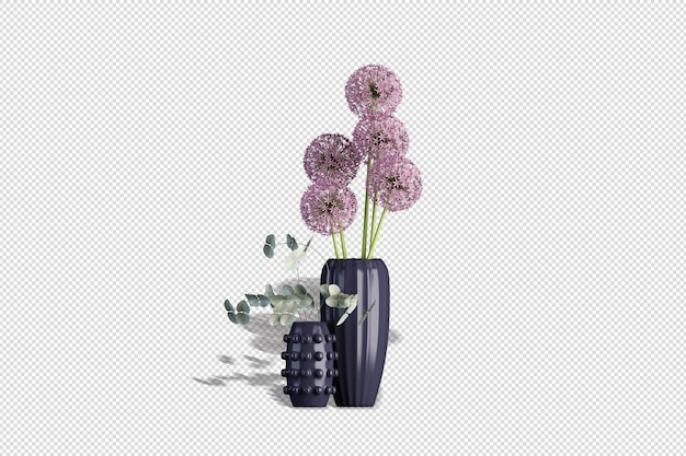Grazioso vaso con fiori in rendering 3d