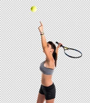 Pretty woman a giocare a tennis